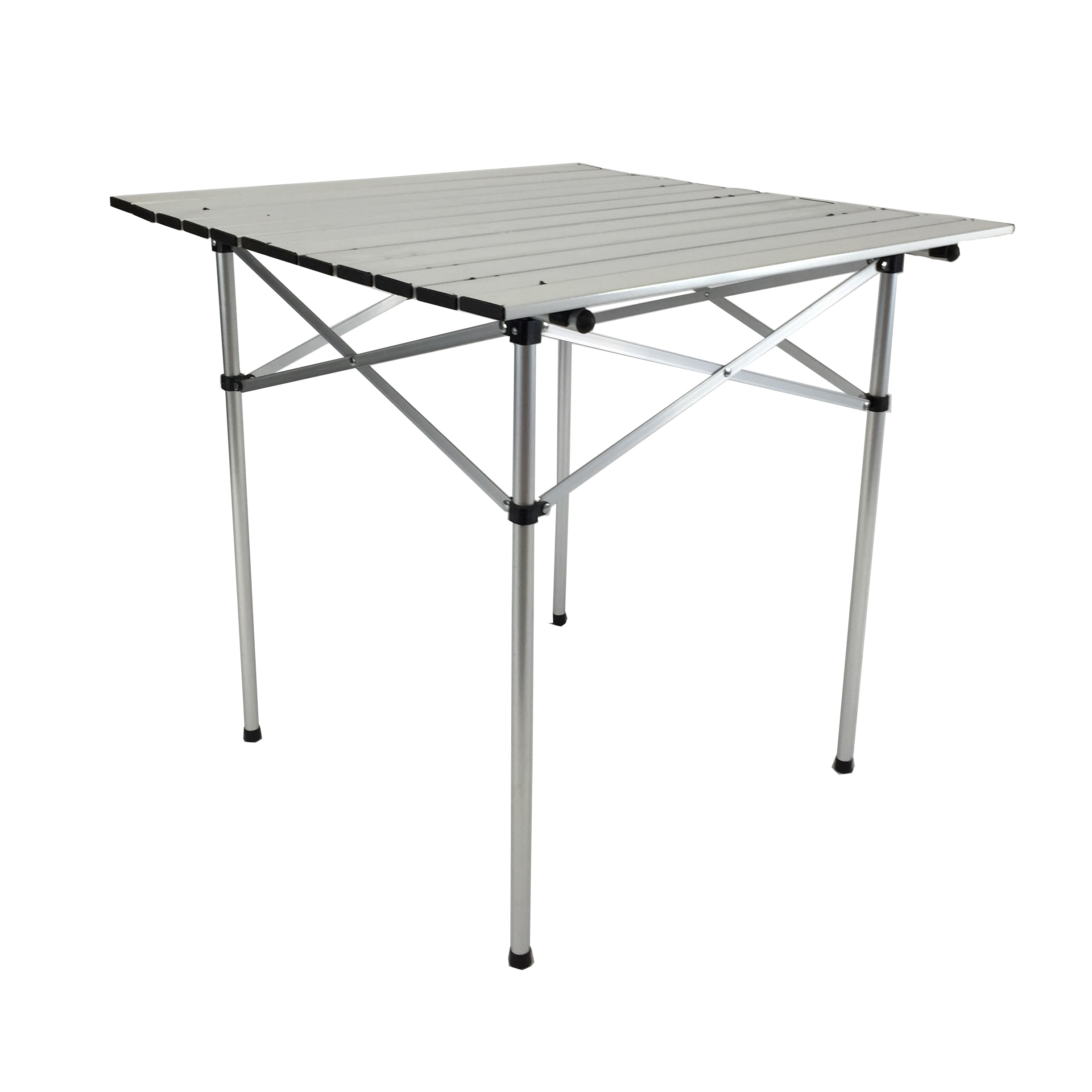Roll Up Top Aluminum Camp Portable Camping Picnic Table With Carrying Bag  Silver