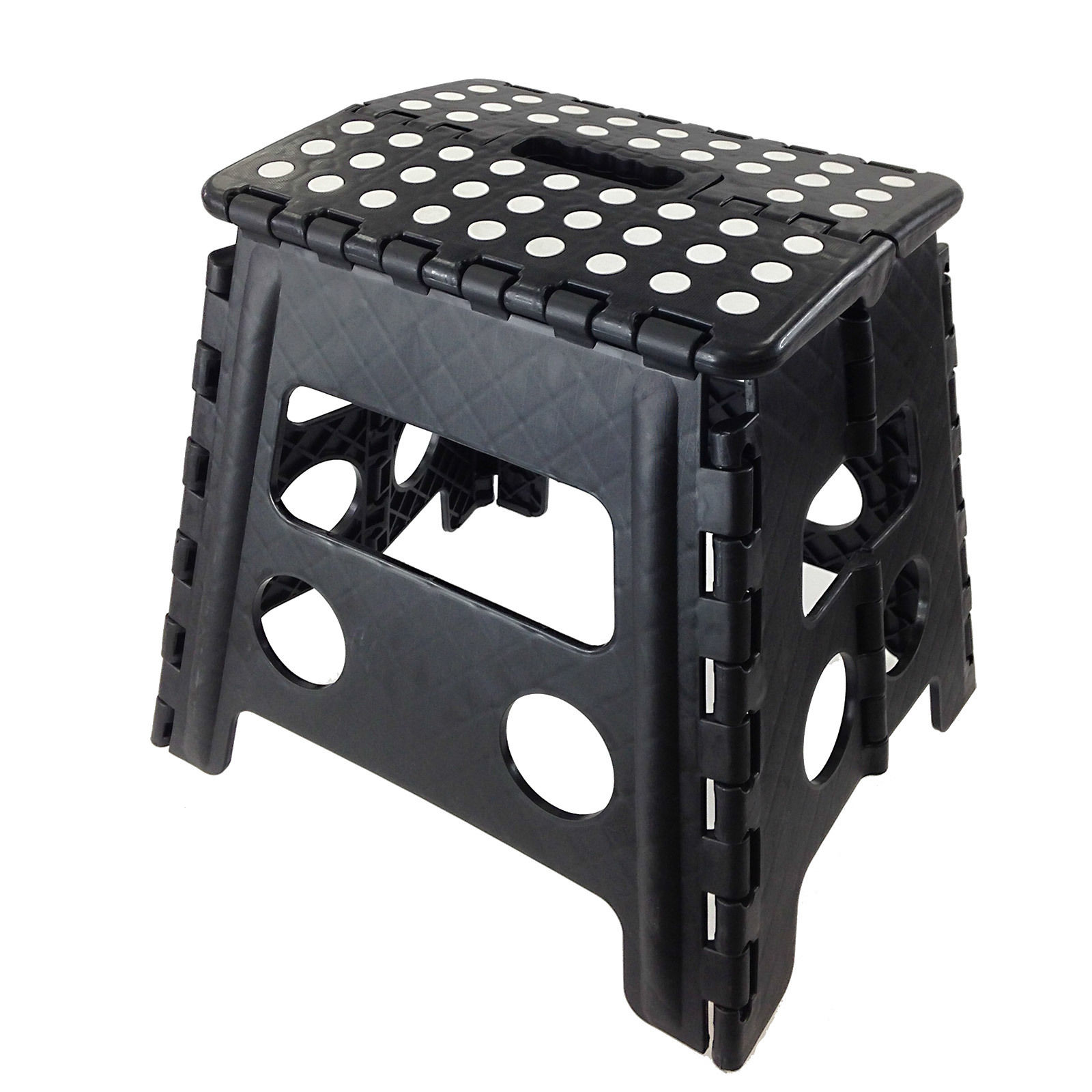 Folding Stool Step Chair Climb Closet High Stand Black