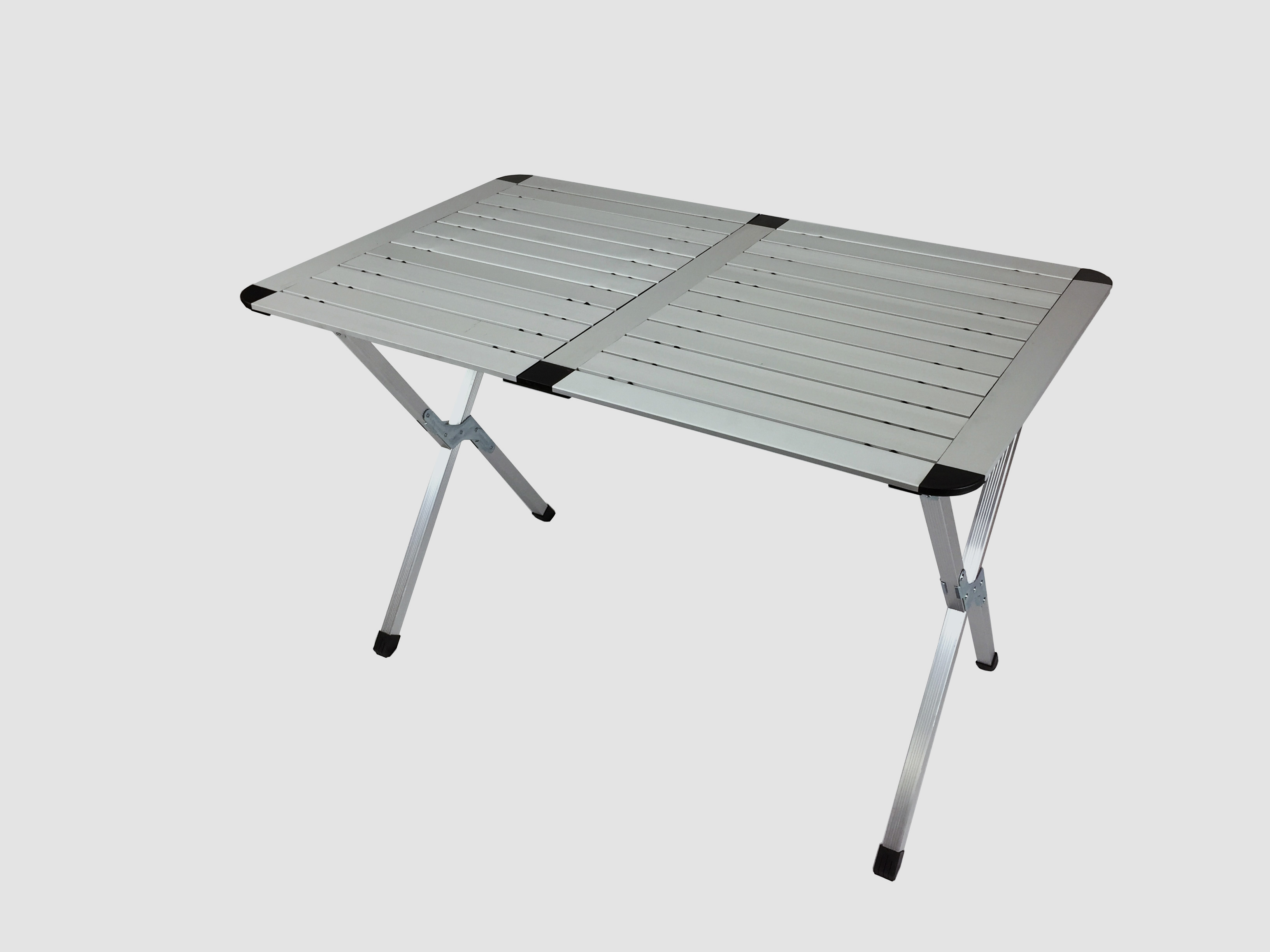 Large Roll Up Top Aluminum Table Camp Picnic Portable Carry Bag Silver 4  Person