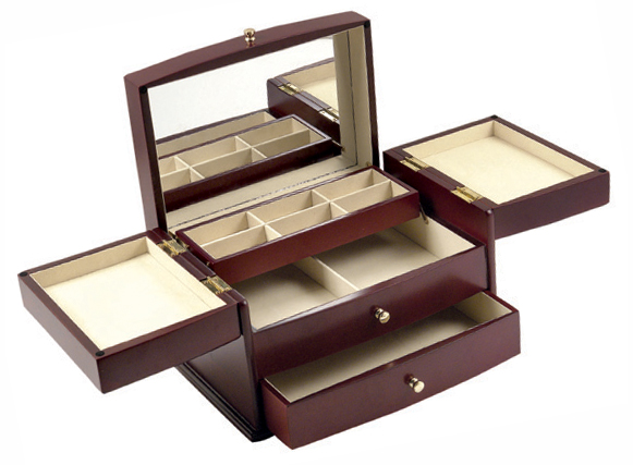 Wood Jewelry Box W Mirror and Compartments
