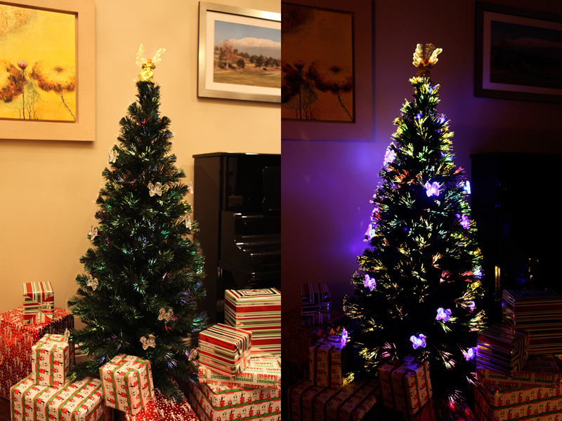 f0708c75779 6 FT PRE-LIT MULTI COLOR LED FIBER OPTIC CHRISTMAS TREE + Angel Tree Topper