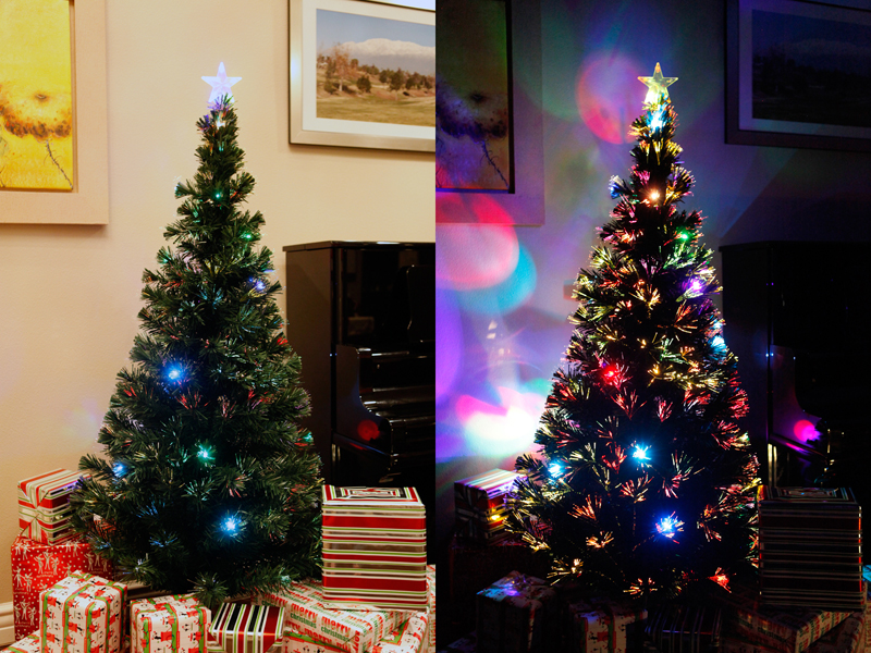 7 ft pre lit multi color led fiber optic christmas tree star tree topper - Prelit Led Christmas Trees