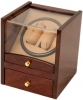 2+4 Burlwood Dual Watch Winder Box AC/DC & Battery Operated w/ Drawer