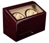 4+4 RedwoodQuad Watch Winder Box AC/DC  w/ Drawer