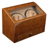 4+4 Walnut Quad Watch Winder Box AC/DC  w/ Drawer