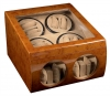 8+4 Walnut Dual Quad Watch Winder Box AC/DC
