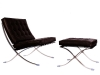LazyBuddy Barcelona Style Chair & Ottoman Set Leather Black