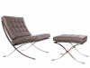 LazyBuddy Barcelona Style Chair & Ottoman Set Faux Leather Grey