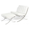 LazyBuddy Barcelona Style Chair & Ottoman Set Leather White