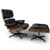 LazyBuddy Modern Mid Century Classic Palisander Wood Black Leather Lounge Chair & Ottoman