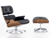 LazyBuddy Modern Mid Century Classic Walnut Wood Black Leather Lounge Chair & Ottoman