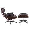 LazyBuddy Modern Mid Century Classic Wenge Wood Black Leather Lounge Chair & Ottoman