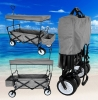 SPORT FOLDING WAGON W/ CANOPY GARDEN UTILITY TRAVEL CART LARGE BEACH TIRES GREY