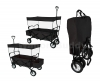 BLACK OUTDOOR FOLDING WAGON CANOPY GARDEN UTILITY TRAVEL CART LARGE BEACH TIRES