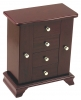 Wood Jewelry Box W/ Mirror Swinging Side Drawers
