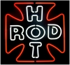 NEON HOT ROD CROSS RED CLASSIC BEER BAR SIGN