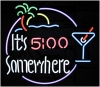 NEON ITS 5:00 SOMEWHERE MARGARITA GLASS BEER BAR SIGN
