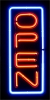 OPEN NEON VERTICAL SIGN