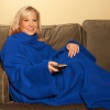Snuggle Fleece Blanket Wrap Throw Travel Plush Fabric With Sleeves Cozy - Blue