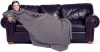 Snuggle Fleece Blanket Wrap Throw Travel Plush Fabric With Sleeves Cozy - Grey