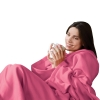 Snuggle Fleece Blanket Wrap Throw Travel Plush Fabric With Sleeves Cozy - Pink