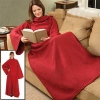 Snuggle Fleece Blanket Wrap Throw Travel Plush Fabric With Sleeves Cozy - Red